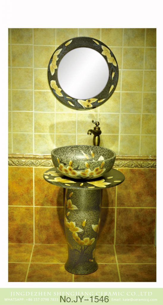 SJJY-1546-66立柱盆_07-548x1024 SJJY-1546-66     China exporter best choice marble ceramic with yellow flowers pattern column basin - shengjiang  ceramic  factory   porcelain art hand basin wash sink
