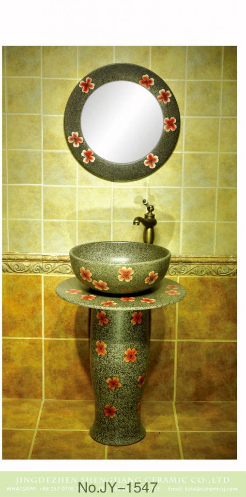 SJJY-1547-66立柱盆_08-2-508x1024 SJJY-1547-66     Large bulk sale factory outlet marble porcelain with red color flowers pattern column basin - shengjiang  ceramic  factory   porcelain art hand basin wash sink