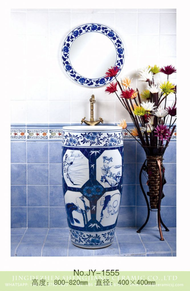 SJJY-1555-70青花一体盆_03-667x1024 SJJY-1555-70   Blue and white porcelain with beauty pattern pedestal basin - shengjiang  ceramic  factory   porcelain art hand basin wash sink