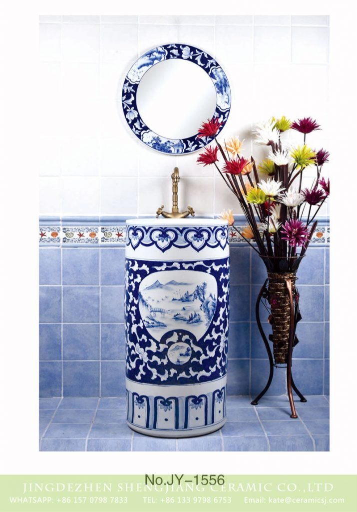 SJJY-1556-70青花一体盆_04-715x1024 SJJY-1556-70   Jingdezhen factory produce art ceramic with landscape surface column basin - shengjiang  ceramic  factory   porcelain art hand basin wash sink