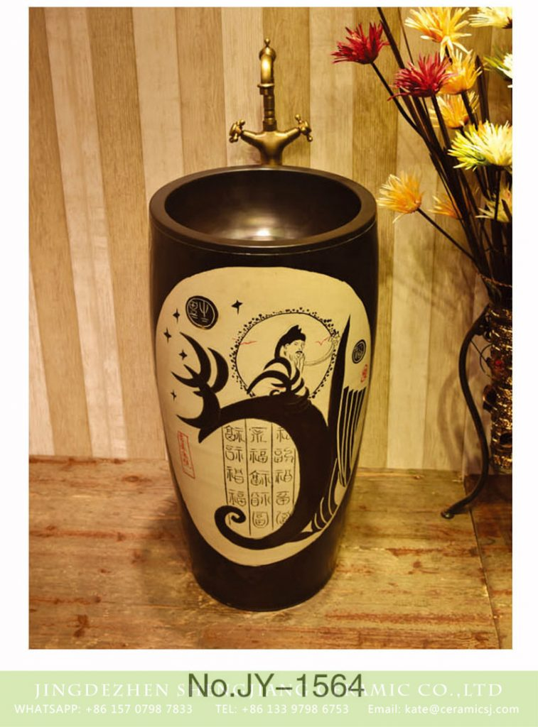 SJJY-1564-71仿古一体盆_09-757x1024 SJJY-1564-71   Black patterns of ancient Chinese poets thick edge pedestal basin - shengjiang  ceramic  factory   porcelain art hand basin wash sink