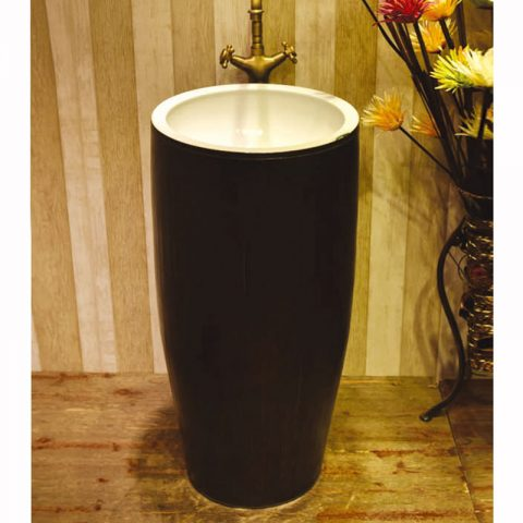 SJJY-1574-72   Modern new style ceramic black color surface and white inner wall pedestal basin