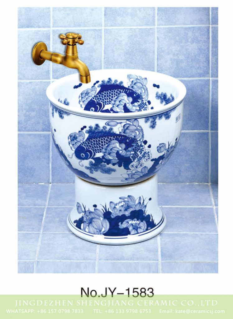 SJJY-1583-74拖把池_05-748x1024 SJJY-1583-74    Shengjiang factory blue and white porcelain with goldfish pattern surface sink - shengjiang  ceramic  factory   porcelain art hand basin wash sink