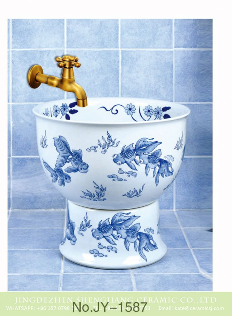 SJJY-1587-74拖把池_10-1-752x1024 SJJY-1587-74   Jingdezhen porcelain city produce goldfish pattern mop pool - shengjiang  ceramic  factory   porcelain art hand basin wash sink
