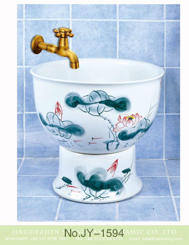 SJJY-1594-75拖把池_08-791x1024 SJJY-1594-75  Factory outlet white ceramic freehand sketching lotus device sink - shengjiang  ceramic  factory   porcelain art hand basin wash sink