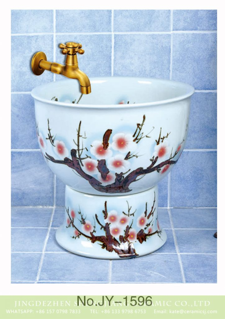 SJJY-1596-75拖把池_10-723x1024 SJJY-1596-75   China online sale white ceramic with calyx canthus pattern pool - shengjiang  ceramic  factory   porcelain art hand basin wash sink