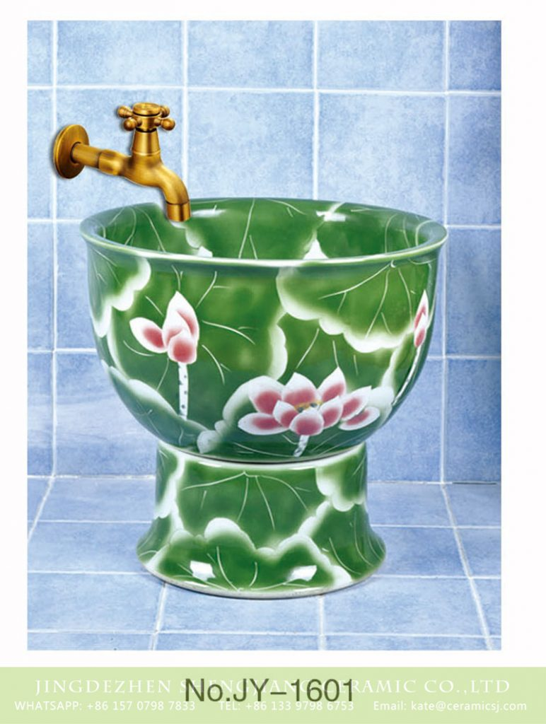 SJJY-1601-76拖把池_05-772x1024 SJJY-1601-76   Shengjiang factory produce green color glazed with lotus device pool - shengjiang  ceramic  factory   porcelain art hand basin wash sink