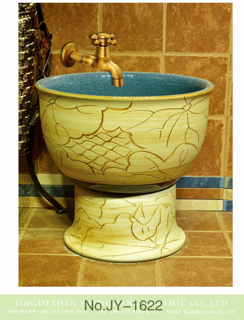 SJJY-1622-78拖把池_09-782x1024 SJJY-1622-78   Made in China hand carved wood surface mop pool - shengjiang  ceramic  factory   porcelain art hand basin wash sink