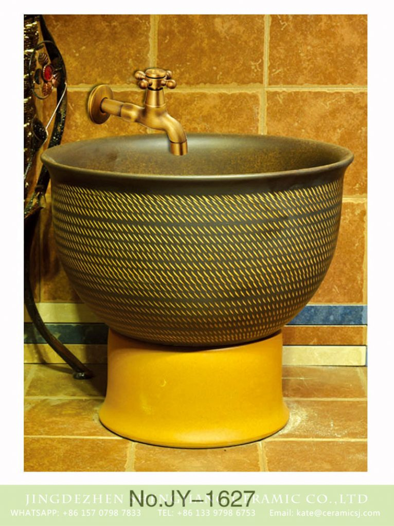 SJJY-1627-79拖把池_04-766x1024 SJJY-1627-79   Art ceramic yellow bottom and dark handmade mop sink - shengjiang  ceramic  factory   porcelain art hand basin wash sink