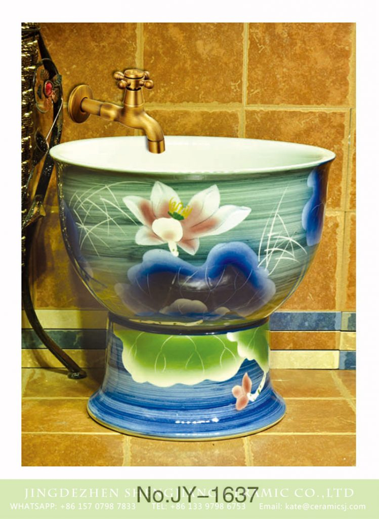 SJJY-1637-80拖把池_05-749x1024 SJJY-1637-80   Factory price white ceramic with hand painted lotus design mop pool - shengjiang  ceramic  factory   porcelain art hand basin wash sink