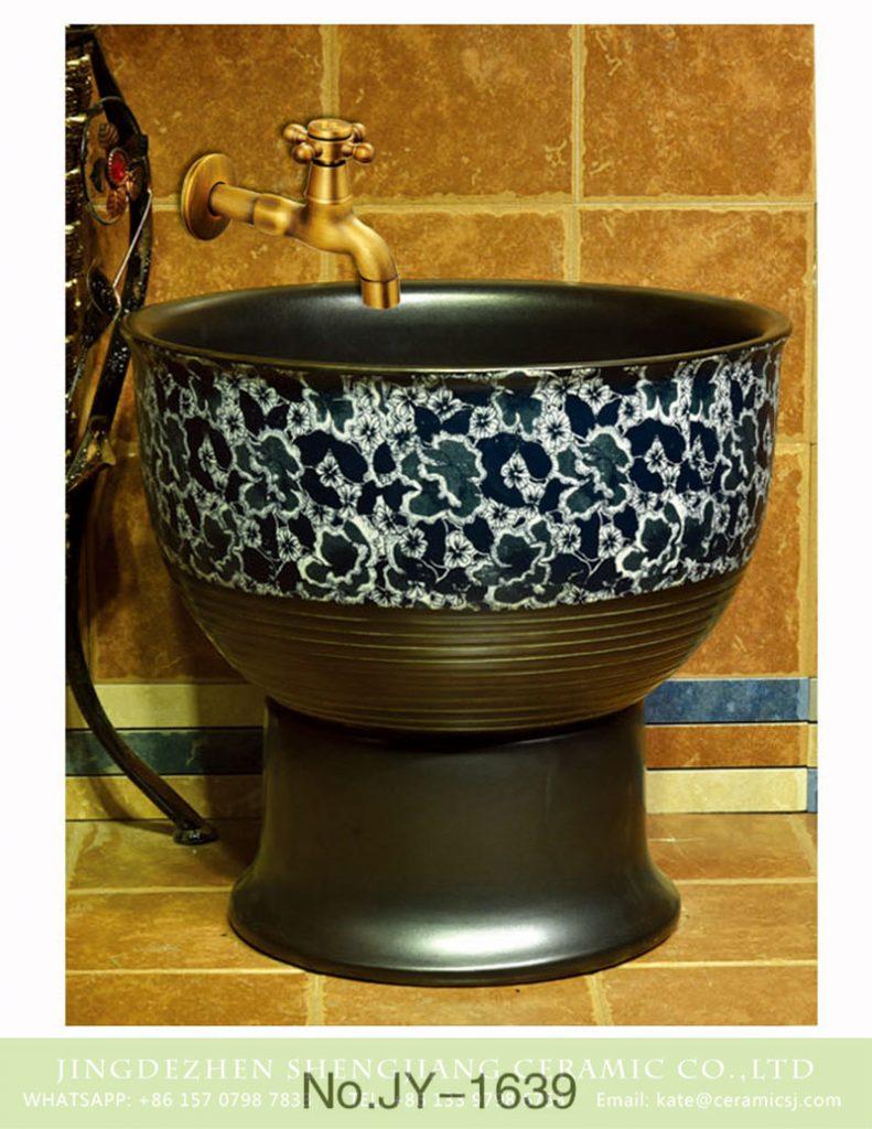 SJJY-1639-80拖把池_08-791x1024 SJJY-1639-80  China online sale matte black plain color porcelain with blue and white device sink - shengjiang  ceramic  factory   porcelain art hand basin wash sink