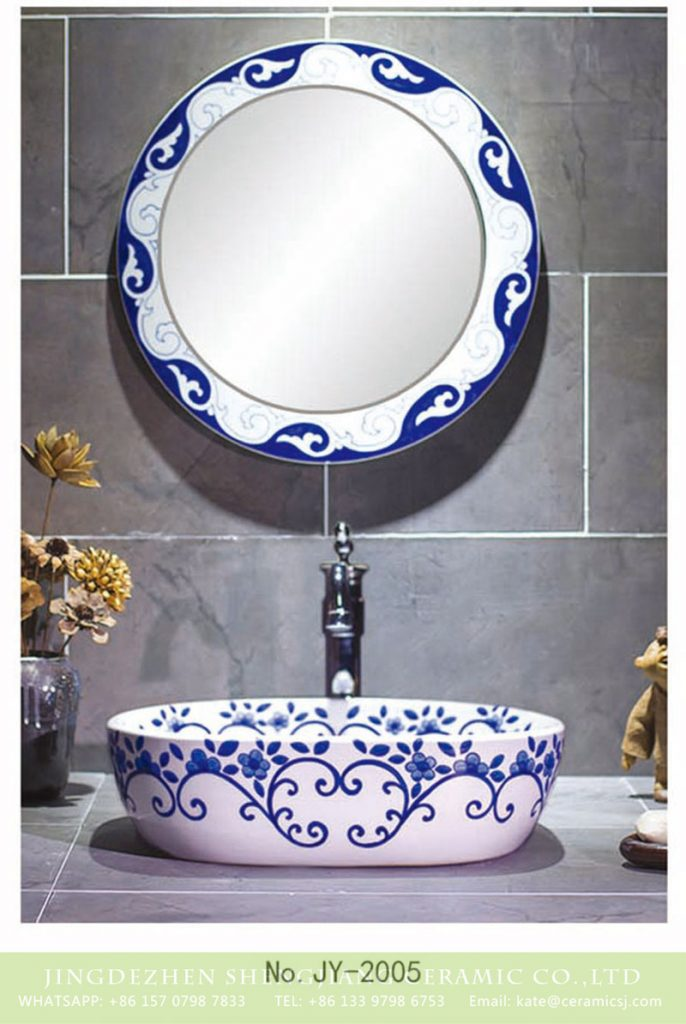 SJJY-2005-2青花手绘台上盆_04-686x1024 SJJY-2005-2  Best selling hand craft blue and white toilet basin  - shengjiang  ceramic  factory   porcelain art hand basin wash sink