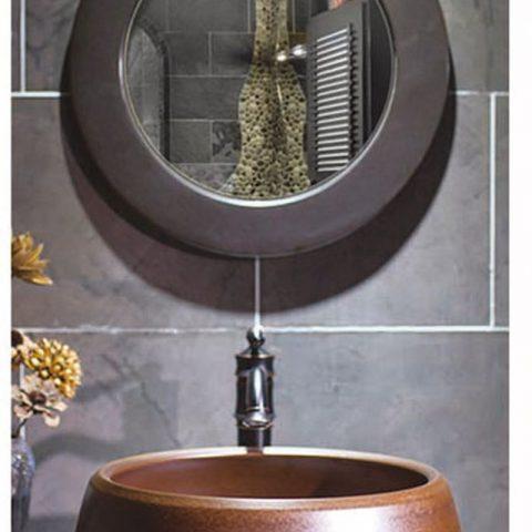 SJJY-2015-4   Factory wholesale brown color metal glazed wash basin