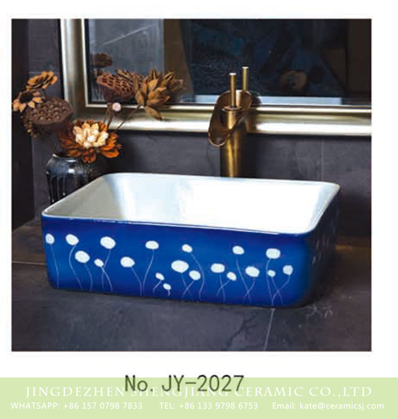 SJJY-2027-5四方台盆_13 SJJY-2027-5   Shengjiang factory produce white ceramic with blue surface vanity basin - shengjiang  ceramic  factory   porcelain art hand basin wash sink