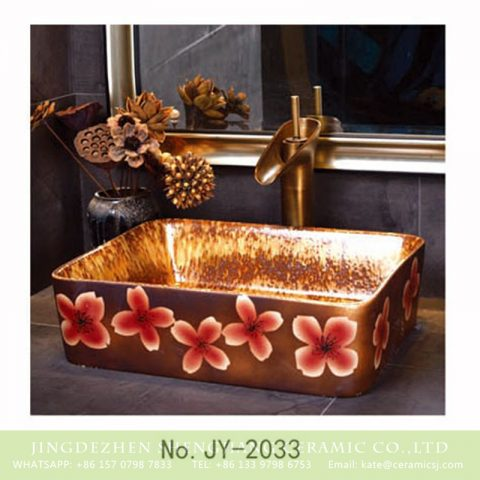 SJJY-2033-6  Traditional high quality porcelain color glazed wash basin