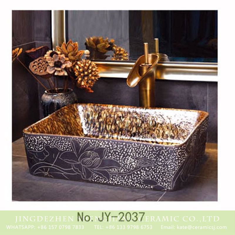 SJJY-2037-6四方台盆_11 SJJY-2037-6   Popular sale hand craft product square wash basin - shengjiang  ceramic  factory   porcelain art hand basin wash sink