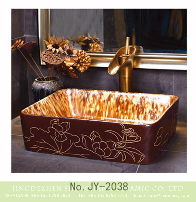 SJJY-2038-6四方台盆_12 SJJY-2038-6   Hand painted ancient style vanity basin - shengjiang  ceramic  factory   porcelain art hand basin wash sink