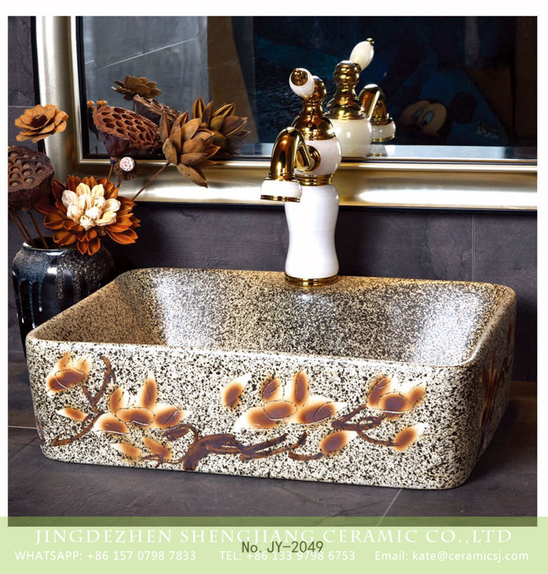 SJJY-2049-7有孔四方台盆_10 SJJY-2049-7   Marble design ceramic with handmade art pattern sanitary ware - shengjiang  ceramic  factory   porcelain art hand basin wash sink