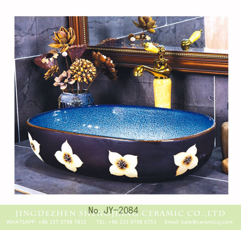 SJJY-2084-12大冬瓜盆_04 SJJY-2084-12  Light blue inside and black surface with flowers pattern sink - shengjiang  ceramic  factory   porcelain art hand basin wash sink