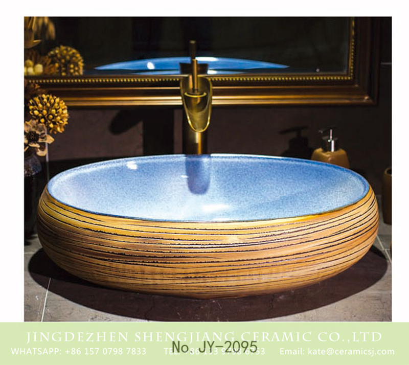 SJJY-2095-14鹅蛋盆_07 SJJY-2095-14  Factory cheap price hand carved wood surface vanity basin - shengjiang  ceramic  factory   porcelain art hand basin wash sink