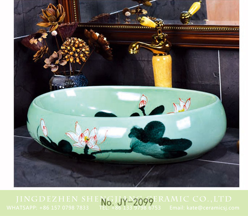 SJJY-2099-15鹅蛋盆_04 SJJY-2099-15   Household turquoise color ink painting oval wash sink - shengjiang  ceramic  factory   porcelain art hand basin wash sink