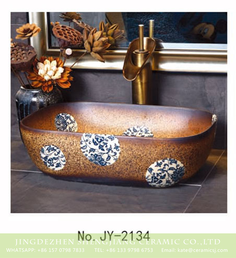 SJJY-2134-18薄口小椭圆盆_13 SJJY-2134-18   Made in China ceramic with blue and white device vanity basin - shengjiang  ceramic  factory   porcelain art hand basin wash sink