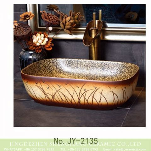 SJJY-2135-18   Imitating marble inside and hand carved pattern sinks