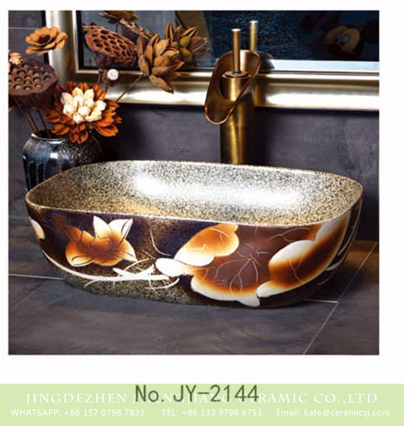SJJY-2144-19薄口小椭圆盆_12 SJJY-2144-19  Marble ceramic with lotus pattern wash hand basin - shengjiang  ceramic  factory   porcelain art hand basin wash sink