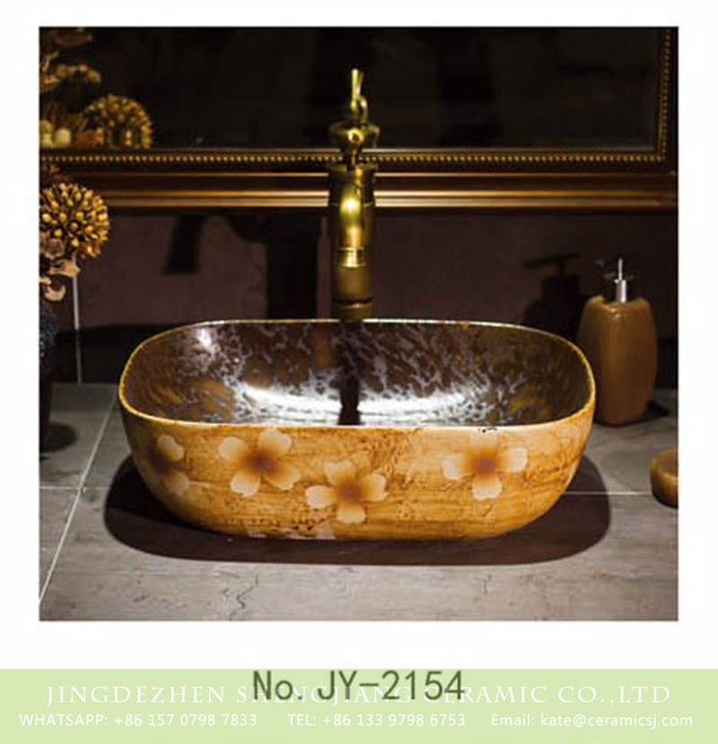 SJJY-2154-20薄口小椭圆盆_12 SJJY-2154-20   China retro style ceramic with flowers pattern wash basin - shengjiang  ceramic  factory   porcelain art hand basin wash sink
