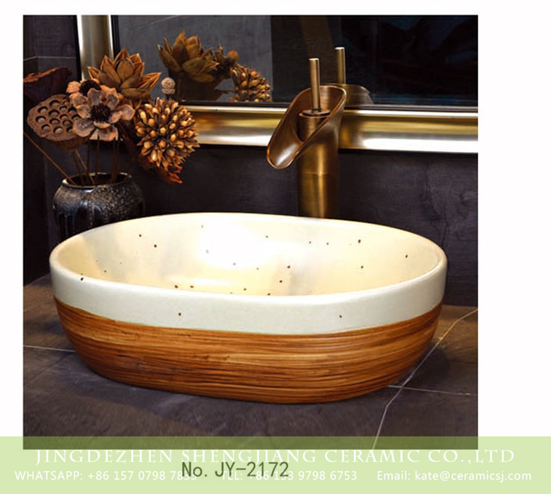 SJJY-2172-22小冬瓜盆_06 SJJY-2172-22   Retro design brown and white ceramic with black dots sanitary ware - shengjiang  ceramic  factory   porcelain art hand basin wash sink
