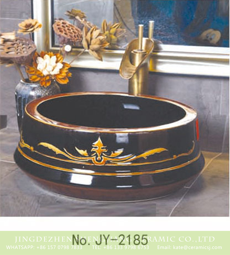 SJJY-2185-23聚宝盆_18 SJJY-2185-23   Black shiny porcelain with golden device vanity basin - shengjiang  ceramic  factory   porcelain art hand basin wash sink