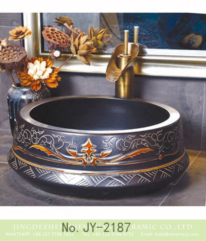 SJJY-2187-23聚宝盆_20 SJJY-2187-23   Hand craft exquisite pattern black ceramic durable wash sink - shengjiang  ceramic  factory   porcelain art hand basin wash sink