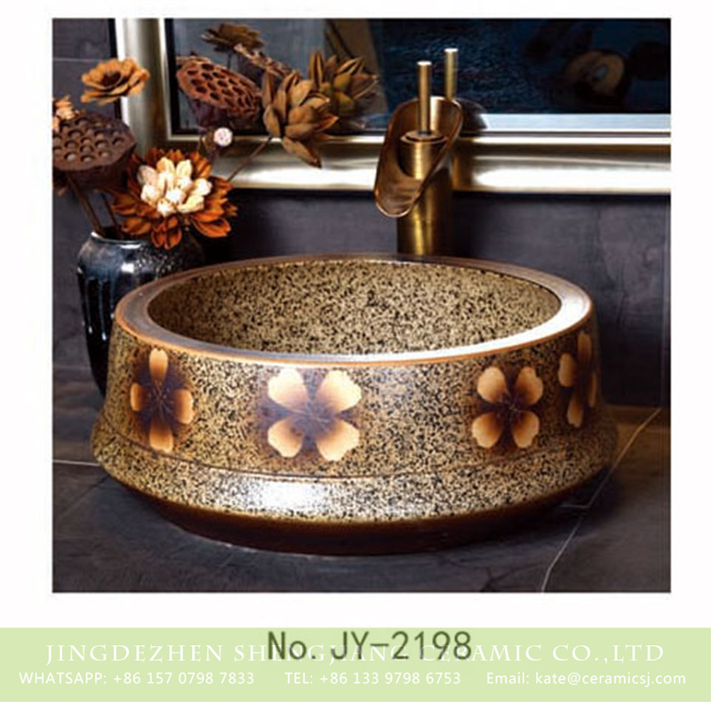 SJJY-2198-25聚宝盆_07 SJJY-2198-25   Imitating marble ceramic with hand painted flowers vanity basin - shengjiang  ceramic  factory   porcelain art hand basin wash sink