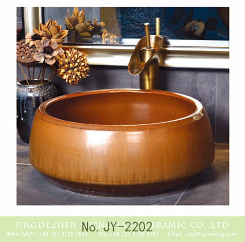SJJY-2202-25聚宝盆_11 SJJY-2202-25   Handmade solid color durable sanitary ware - shengjiang  ceramic  factory   porcelain art hand basin wash sink