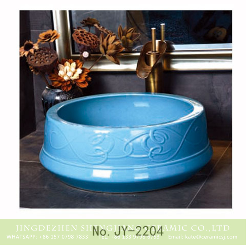 SJJY-2204-25聚宝盆_13 SJJY-2204-25   Shengjiang large bulk blue color porcelain hand carved art basin - shengjiang  ceramic  factory   porcelain art hand basin wash sink
