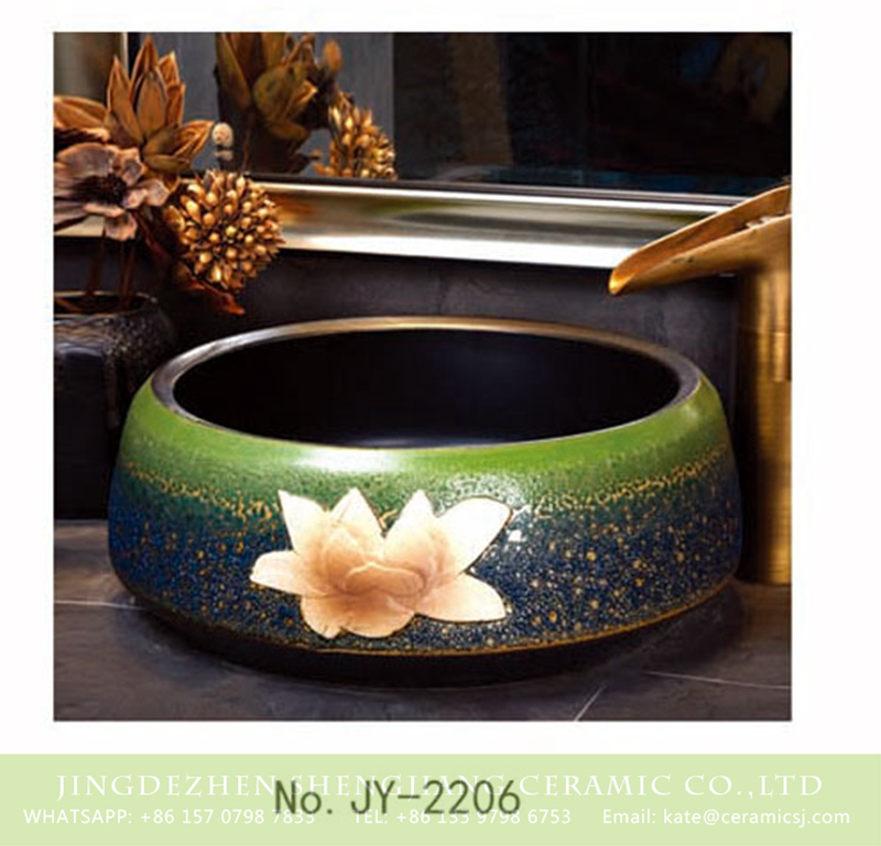 SJJY-2206-25聚宝盆_15 SJJY-2206-25  Pure hand painted green color glazed round wash sink - shengjiang  ceramic  factory   porcelain art hand basin wash sink
