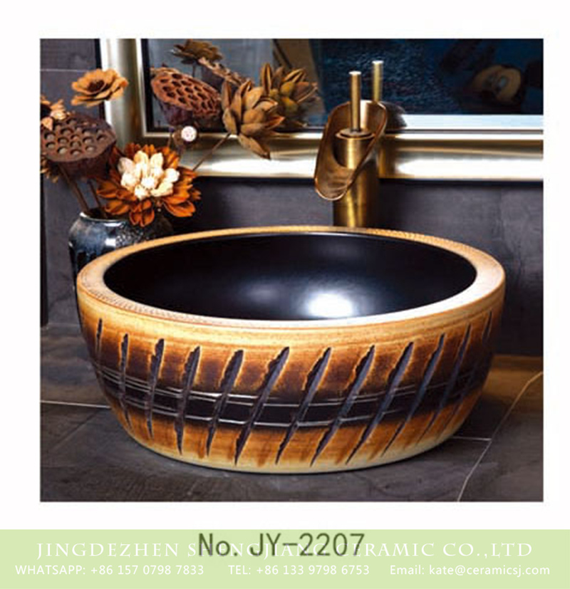 SJJY-2207-26腰鼓形盆_03 SJJY-2207-26   Matte black inside and hand carved outside round wash sink - shengjiang  ceramic  factory   porcelain art hand basin wash sink
