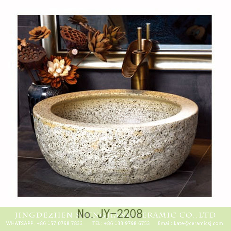 SJJY-2208-26腰鼓形盆_04 SJJY-2208-26   Shengjiang porcelain uneven surface thick edge durable wash sink - shengjiang  ceramic  factory   porcelain art hand basin wash sink