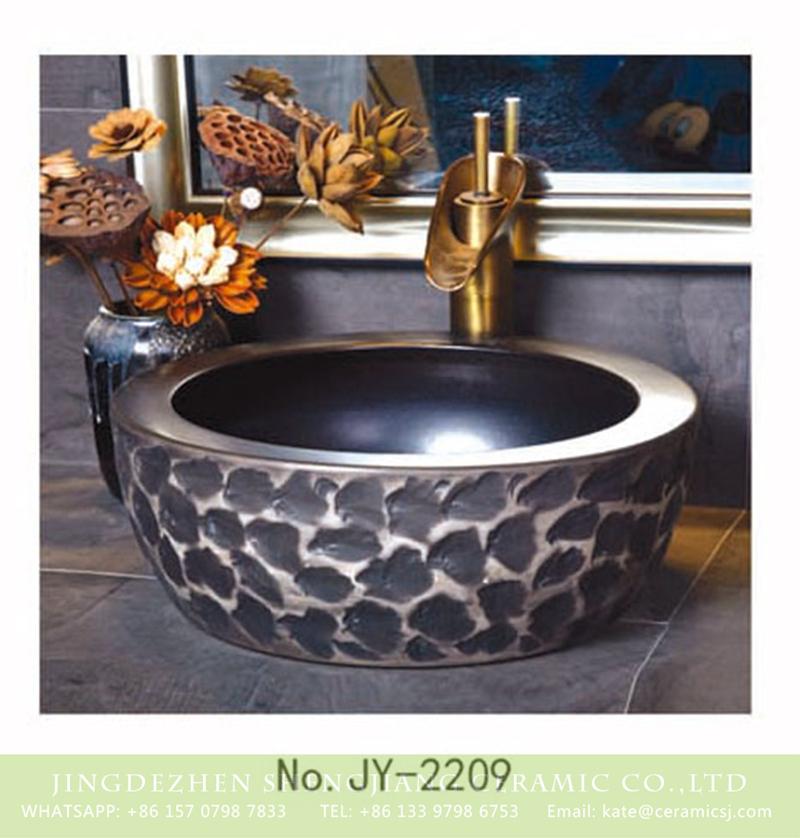 SJJY-2209-26腰鼓形盆_05 SJJY-2209-26   Black high quality ceramic thick edge sanitary ware - shengjiang  ceramic  factory   porcelain art hand basin wash sink