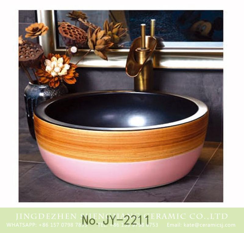 SJJY-2211-26腰鼓形盆_08 SJJY-2211-26   Famille rose outside and matte black inner wall sanitary ware - shengjiang  ceramic  factory   porcelain art hand basin wash sink