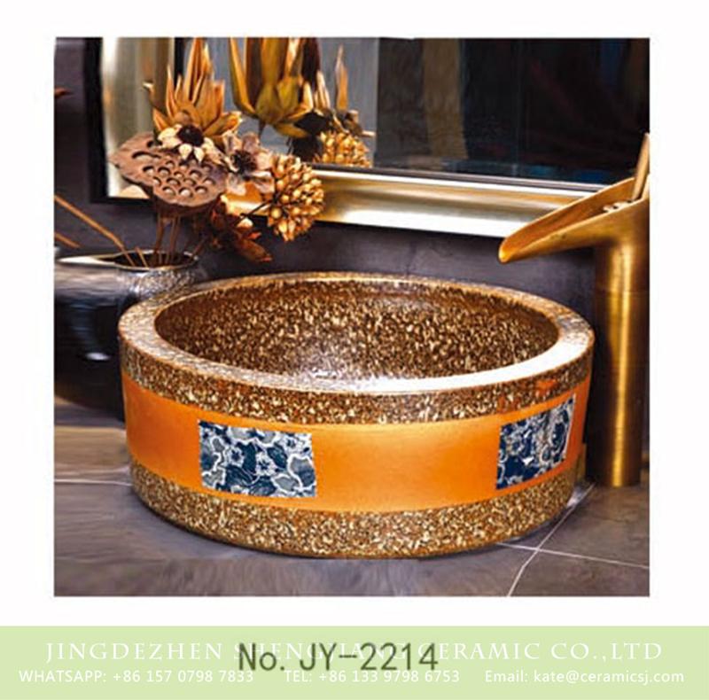 SJJY-2214-26腰鼓形盆_11 SJJY-2214-26   Marble porcelain with blue and white pattern sanitary ware - shengjiang  ceramic  factory   porcelain art hand basin wash sink