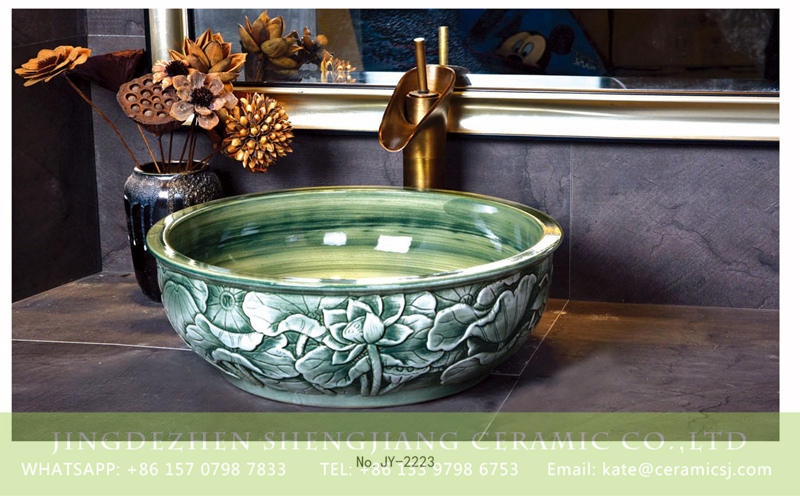 SJJY-2223-27碗形盆_08 SJJY-2223-27  Green color glazed round art vanity basin - shengjiang  ceramic  factory   porcelain art hand basin wash sink