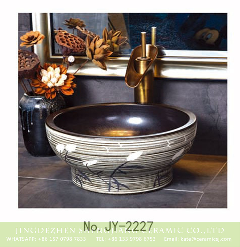 SJJY-2227-28小号盆_07 SJJY-2227-28    Manual sculpture high quality porcelain durable vanity basin - shengjiang  ceramic  factory   porcelain art hand basin wash sink