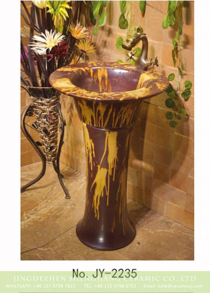 SJJY-2235-29柱盆_06-733x1024 SJJY-2235-29   Unique design ceramic brown and yellow color pedestal basin - shengjiang  ceramic  factory   porcelain art hand basin wash sink