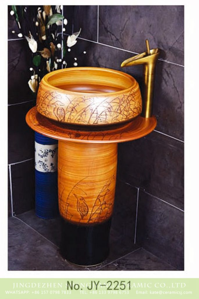 SJJY-2251-31柱盆_09-684x1024 SJJY-2251-31   Hand carved brown color column basin - shengjiang  ceramic  factory   porcelain art hand basin wash sink