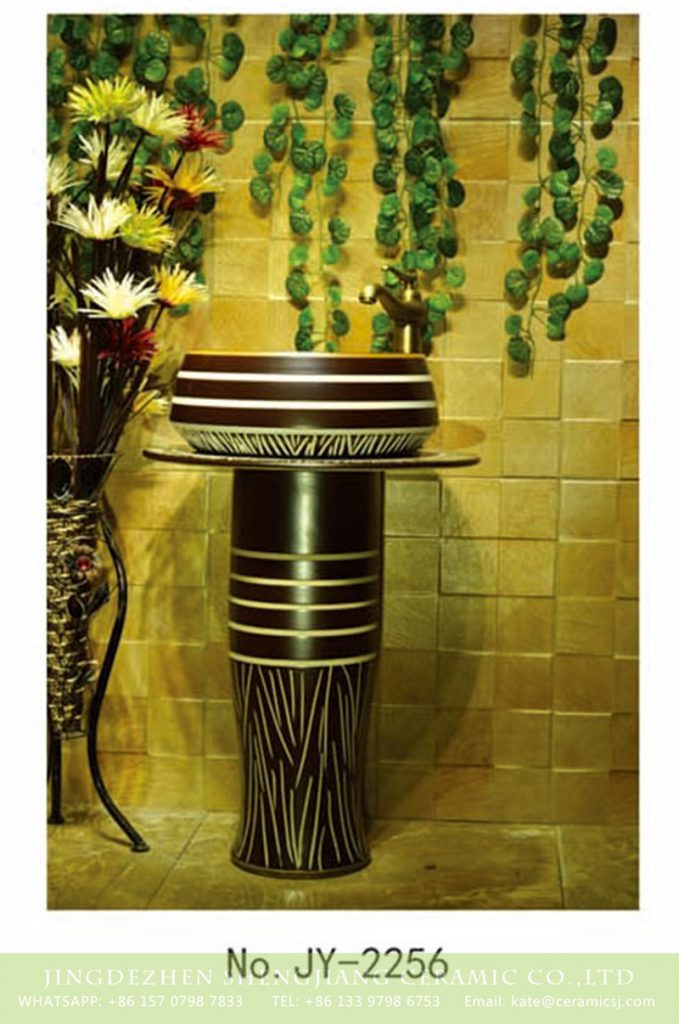 SJJY-2256-31柱盆_15-679x1024 SJJY-2256-31   Hand painted stripes device home decor basin - shengjiang  ceramic  factory   porcelain art hand basin wash sink