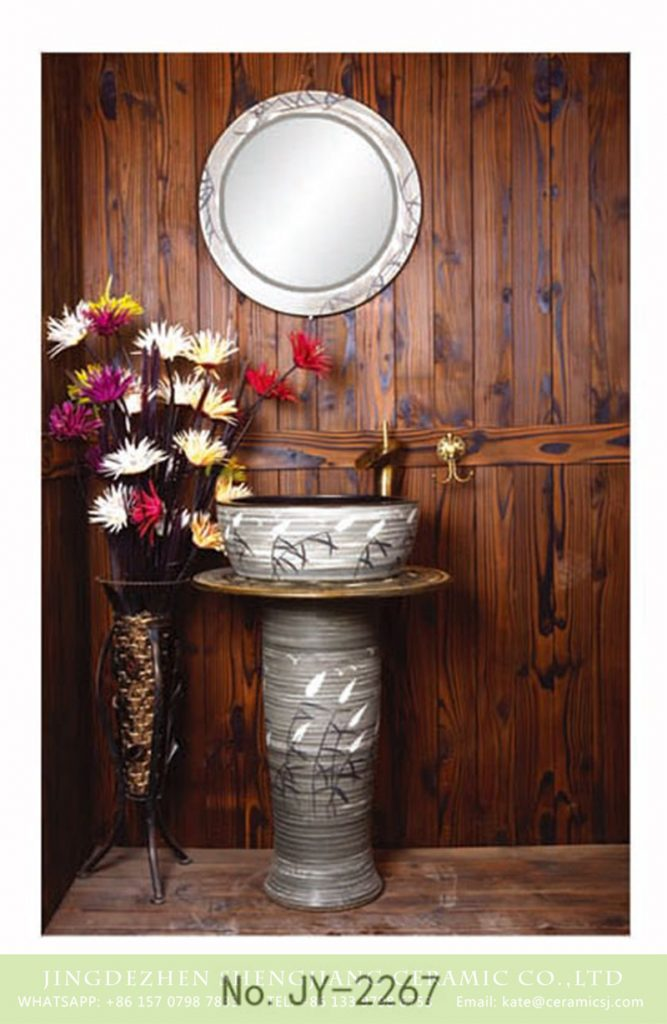 SJJY-2267-33柱盆_05-667x1024 SJJY-2267-33   Hand painted reed pattern grey color one piece basin - shengjiang  ceramic  factory   porcelain art hand basin wash sink