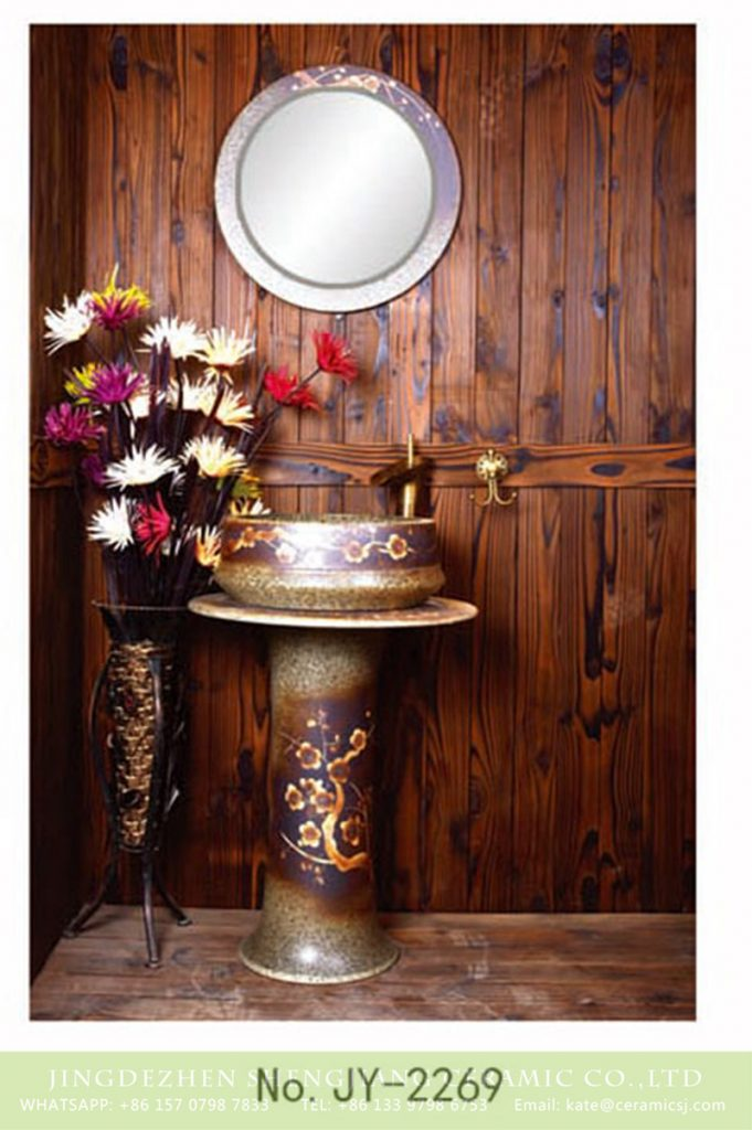 SJJY-2269-33柱盆_09-681x1024 SJJY-2269-33    Pure hand painted plum flower pattern one piece basin - shengjiang  ceramic  factory   porcelain art hand basin wash sink
