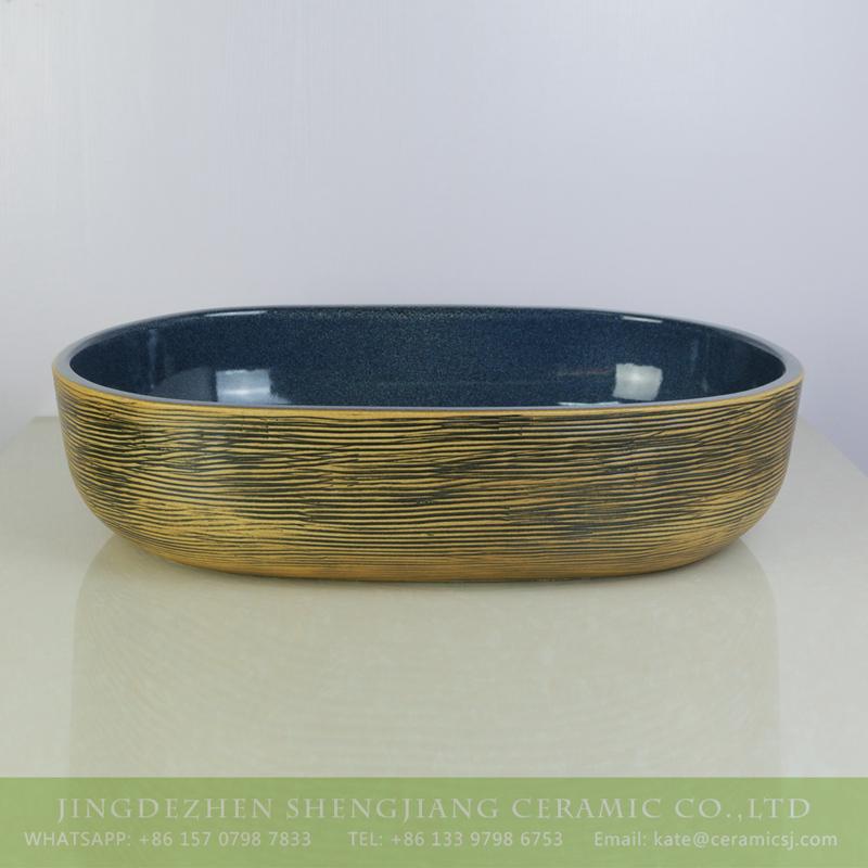 sjbyl-6001-(大椭圆)花釉黄底线条 sjbyl-6001   Shengjiang factory produce porcelain handmade oval wash basin - shengjiang  ceramic  factory   porcelain art hand basin wash sink