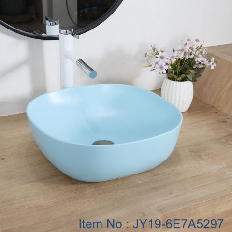JY19-6E7A5297 Blue Chinese factory direct art ceramic beautiful bathroom washing sink